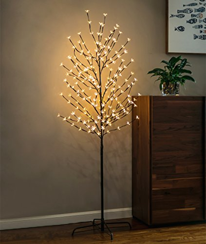 Twinkle Star 6 Feet 208 LED Cherry Blossom Tree Light for Home Festival Party Wedding Indoor Outdoor Christmas Decoration, Warm White (1 Pack)