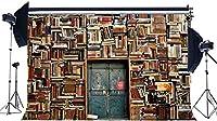 HDビニール10x7ftレトロな本棚の背景インテリア研究室古い図書館の背景ヴィンテージ本棚素朴な木製のドア写真背景子供のための大人の研究結婚式の写真スタジオの小道具543