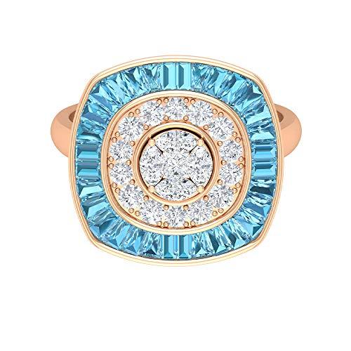 Rosec Jewels - 14 Kt Rotgold Markise Prinzessschliff Runder Brilliantschliff Leicht Getöntes Weiß/Top Crystal (I) Diamant