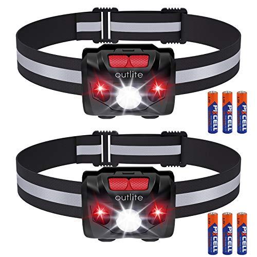 outlite 2 Stück LED Stirnlampe Taschenlampe mit AAA-Batterie, Reflektierende Streifen Stirnlampe mit Doppelschalter für Rotlicht & Weißlicht, wasserdichte Kopflampe zum Laufen, Camping, Klettern