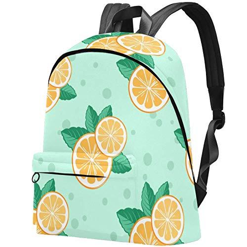 Orangenscheibe und Minze Bag Teens Student Bookbag Leichte Umhängetaschen Reiserucksack Tägliche Rucksäcke