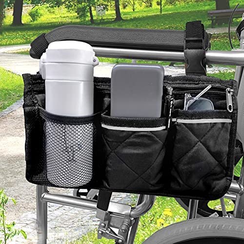 [Upgraded] Wheelchair Bag with Pockets - Wheelchair Cup Holder, Universal Waterproof Side Bag for Electric Wheelchair, Mobility Scooter, Accessories, Black