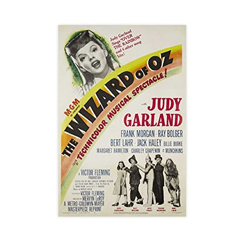 Vintage The Wizard Of OZ Judy Garland Movie Canvas Poster Bedroom Decor Sports Landscape Office Room Decor Gift Unframe:16×24inch(40×60cm)