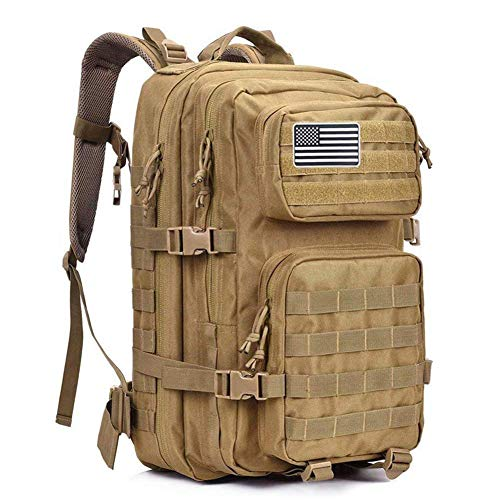 Dunnta Tactical Backpack, 3 Day Assault Pack Molle Bug Out Bag 42L Military Backpack for Hiking Camping Trekking Hunting (Tan)