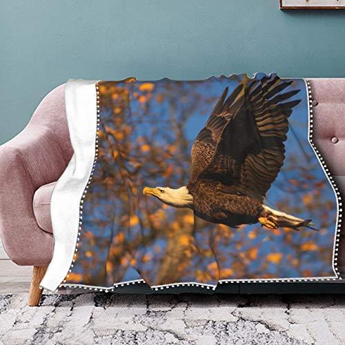 Manta de franela con diseño de alas de águila con estampado digital en 3D, para aire acondicionado, colcha, bola, de encaje, para sofá, dormitorio, sala de estar, 40 x 30 pulgadas