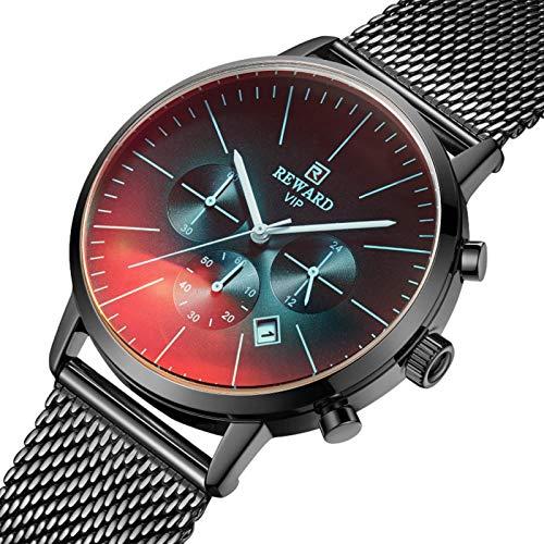 Nogan Reloj de cuarzo Reloj impermeable minimalista ultrafino con correa de malla Blanco Concha Blanca Concha Dorada Dorada Concha Rosa Azul Concha Negra Negra elegant