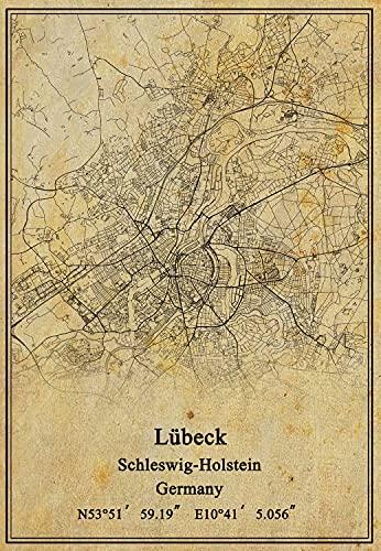 Kunstdruck auf Leinwand, Motiv Deutschland, Lübeck, Schleswig-Holstein, Vintage-Stil, ungerahmt, Dekoration, Geschenk, 28,9 x 35,6 cm
