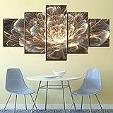 Lienzo Giclée de pared Art imagen para decoración del hogar de Flor fractal de rayos dorados 5 piezas Pinturas moderna estirada y enmarcado arte aceite
