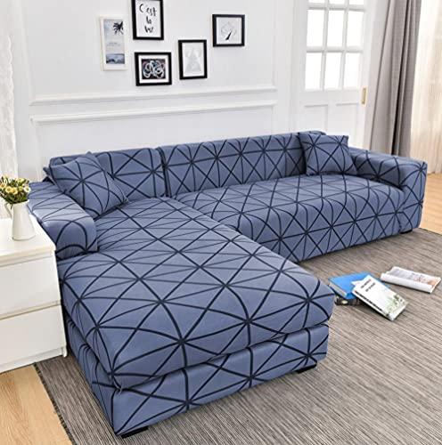 Funda Sofas 2 y 3 Plazas Rejilla Azul Oscuro Fundas para Sofa con Diseño Universal,Cubre Sofa Ajustables,Fundas Sofa Elasticas,Funda de Sofa Chaise Longue,Protector Cubierta para Sofá
