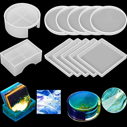 12 Pieces Coaster Resin Molds Set Silicone Coaster Storage Box Mold in Rectangle...