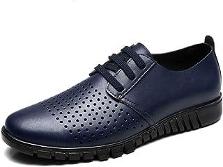 Men's Oxfords Easy Cowhide Vamp Delicate Outsole Breathable Leisure Shoes casual shoes (Color : Blue Hollow Vamp, Size : 44 EU)