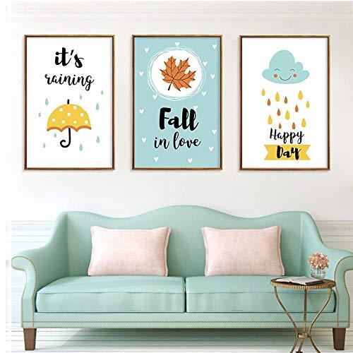 WADPJ Catoon paraplu wind schilderen canvas muurkunst kleuterschool afdrukken kinderkamer baby kamer decor-50x70cmx3 stuks geen lijst