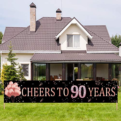 Kauayurk 90th Birthday Banner Decorations Supplies for Women, Cheers to 90 Years Birthday Party Decor, Rose Gold Happy Ninety Birthday Sign Backdrop(9.8x1.6ft)