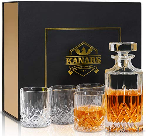 KANARS Whiskey Decanter And Glasses Set in Unique Gift Box - Original Crystal Liquor Decanter Set For Bourbon, Scotch, Vodka or Whisky, 5-Piece