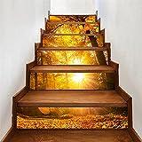 CACAIMAO Pegatinas De Escalera Tridimensionales 3D, Pegatinas De Pared De Dormitorio De Sala De Estar, Pegatinas Decorativas Autoadhesivas Impermeables De PVC 6 Piezas 18cm*100cm