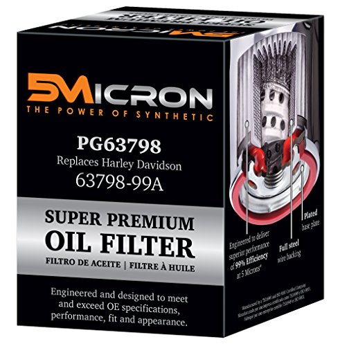 5Micron PG63798 Full Synthetic Oil Filter | Fits 99'-Newer Harley Davidson Twin Cam and Evolution. models (except '08-later XR models)