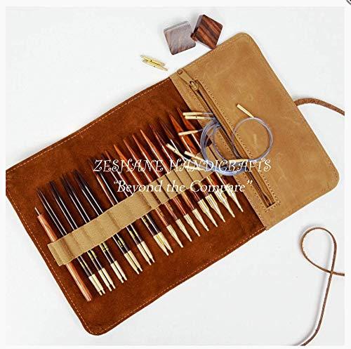 Zeshane Handicrafts Rosewood Interchangeable Knitting Needle Set.