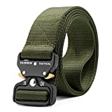 Fairwin Tactical Belt, Military Style Webbing Riggers Web Belt Heavy-Duty Quick-Release Metal Buckle (Green, M - Waist 36'-42')