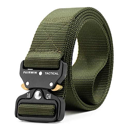 Great Features Of Fairwin Tactical Belt, Military Style Webbing Riggers Web Belt Heavy-Duty Quick-Re...