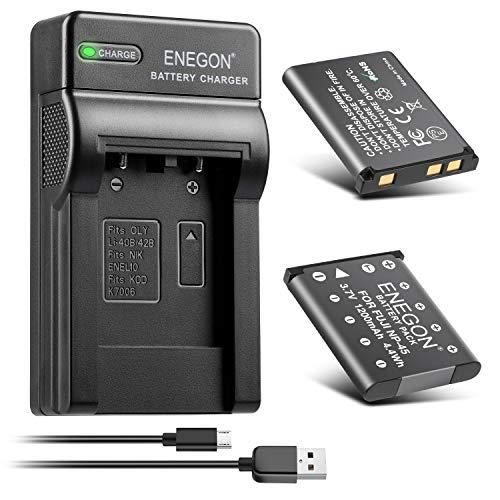 ENEGON Ersatzbatterie (2er Pack) und Rapid Dual Ladegerät für NP-45 NP-45S Fujifilm INSTAX Mini 90 und FinePix XP50 XP60 XP70 XP80 XP90 XP120 XP130 XP140 T350 T360 T400 T500 T510 T550 JX500 JX520