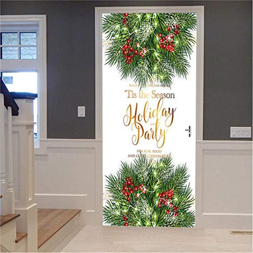 JHYT Home Decor 3D Door Sticker Christmas Tree Gift Self Adhesive Snow View Picture Print Waterproof Environmental Protection Artwrok