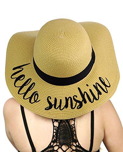 C.C Women's Paper Weaved Crushable Beach Embroidered Quote Floppy Brim Sun Hat, Hello Sunshine