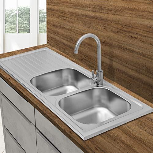 ECD Germany Fregadero de cocina 120 x 50 cm con juego de desagüe - lavabo duble seno con sifón - soporte a la izqierda- acero inoxidable - pila lavadero platos manual empotrado con rebosadero