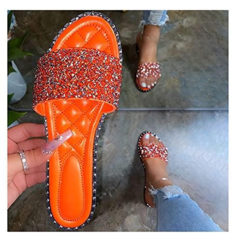 Youpin Damskie kryształowe kapcie damskie bling płaskie damskie moda outdoorowe buty plażowe damskie obuwie damskie letnie wsuwane duży rozmiar 35-43 (kolor: Pomarańczowy, rozmiar buta: 40)