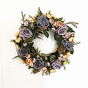 Liveinu Artificial Handmade Wreaths for Front Door Flowers Arrangements Wedding Table Centerpieces Wreath Garland Blooming