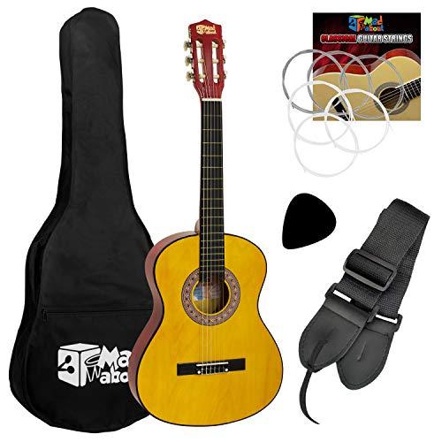 Mad About Guitarra clásica española con bolsa de transporte, correa, púa y cuerdas de repuesto