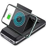 YANSAKER 折畳収納可能ホルダー ワイヤレス充電バッテリー 20000mAh超大容量 Qiワイヤレス出力 LEDディスプレイ 双方向2.1A急速充電 Type-C Micro USBダブル入力 ダブルUSB出力 ビジネス 旅行 iPhone HUAWEI Samsung iPadなど様々な機種を対応可能