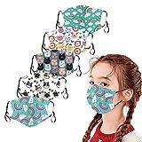 5 Stück Mundschutz Kinder mit Motiv waschbar, Atmungsaktive mundbedeckung Stoff Baumwolle Anti-Staub Wiederverwendbar mundschutz Für Radfahren
