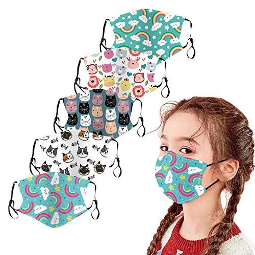 Lialbert 5 Stück Kinder Mundschutz Multifunktionstuch 3D Cartoon Druck Maske Animal Print Atmungsaktive Baumwolle Stoffmaske Waschbar Mund-Nasenschutz Tiermotiv Bandana Halstuch Jungen Mädchen