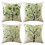 MIULEE Juego de 4 Lino Cojines Árbol Verde Funda de Cojín Almohada Caso de Decorativo Cojines para Sala de Estar sofá Cama18 x18 Pulgadas 45x45cm