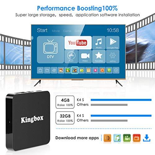 Android 9.0 TV BOX, Kingbox K4S Smart TV Box Quad Core 4GB RAM+32GB ROM, BT 4.1, 4K*2K UHD H.265 /HDMI /USB 3.0/ 100 LAN WiFi Media Player, Android Set-Top Box