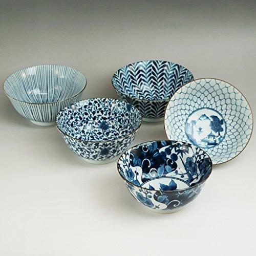 西海陶器『藍絵変わり多用鉢揃5個セット(31303)』