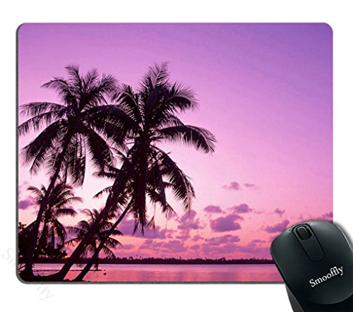Smooffly Gaming Mouse Pad Custom,Palm Trees Beaches Mouse Pad,Purple Sky