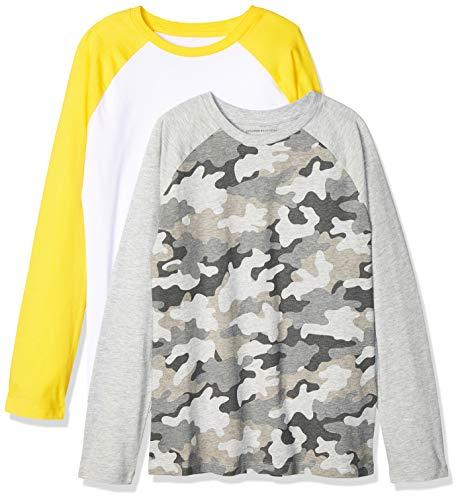 Amazon Essentials – Camiseta de manga larga raglán para niño (2 unidades), camuflaje/blanco, US M (EU 128 CM)