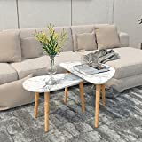Coffee Table,Nesting Triangle End Table,Oval Table,Set of 2 Coffee Table Modern Minimalist Side Table for Living Room,Contemporary Style Leisure Tea Table Cocktail Table,Living Room,Marble