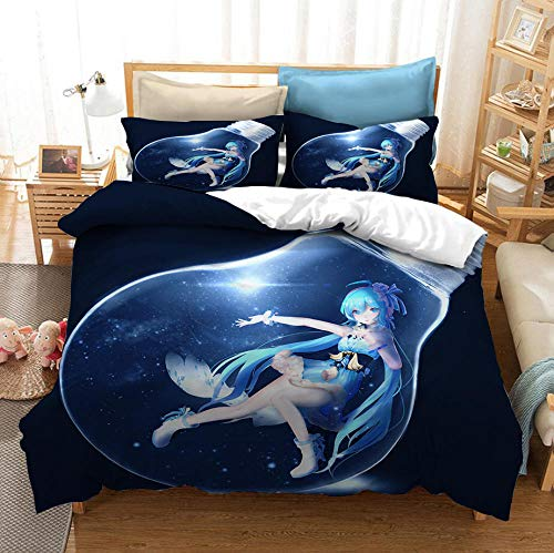 Hbvvaceo Bedding Set 3D Cartoon anime girl Print Duvet Cover with Pillowcases Men Teen Boys Kids Bedding Set with Zipper Closure Easy Care Single Double King Size - Double 200 x 200 cm Children's bed