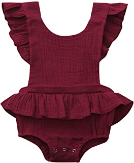 WOCACHI Toddler Baby Girls Clothes, Infant Sleeveless Ruffles Solid Bow Backless Romper Bodysuit Outfits