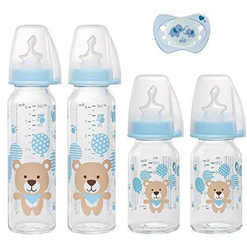 NIP Glas Flasche Uni // 4er Set // Glas-Babyflasche // 2 x Standardglasflasche 250 ml Trinksauger Gr. M // 2 x Standardglasflasche 125ml Trinksauger Gr. S //+ nip Schnuller 0-6