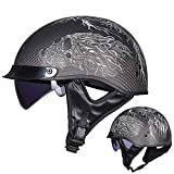 Harley Cruiser Half helmetAdult Harley Cruiser Motorcycle Helmet, Four Seasons with Invisible Goggles Riding Carbon Fiber Half Helmet/DOT Certification (Black Print),XXL