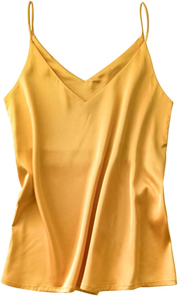 Satin Camisole Tops for Women Solid Color V Neck Silk Sleeveless Undershirts Easy Match for Summer Top