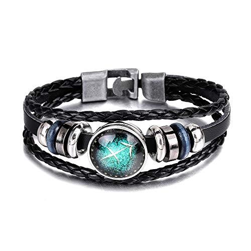 12 pulsera de la constelación tejida a mano de la constelación, brazalete de la pulsera de cuero del encanto de múltiples capas