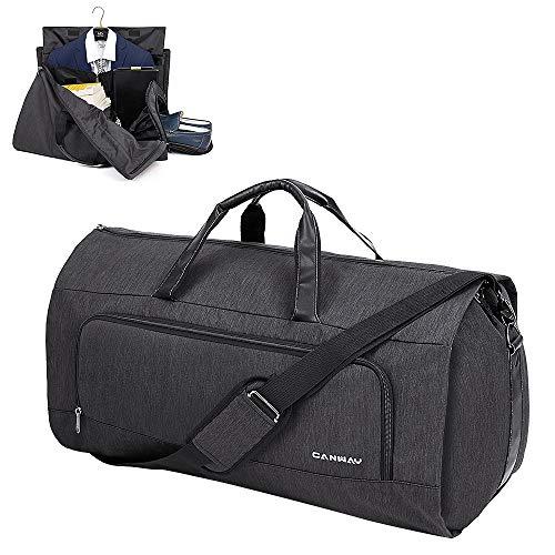 CANWAY Reisetasche Anzugtasche Tragbar Kleidersack Anzughülle Kleidertasche mit Schuhfach Schultergurt 60L Business Flug Reisen Kleiderhülle Reisetasche Weekender Duffel für Männer Frauen (Schwarz)