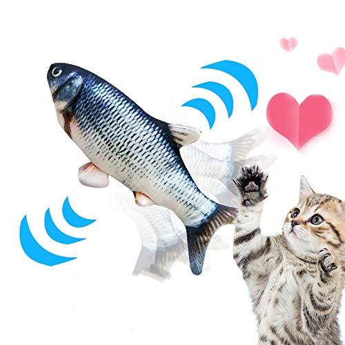 NIBESSER Elektrische Fische Katze, USB Elektrische Plüsch Fisch, Katze Interaktive Spielzeug, Simulation Fisch Elektrisch, Kissen Kauen Spielzeug Simulation Plush Fisch Shape für Katze