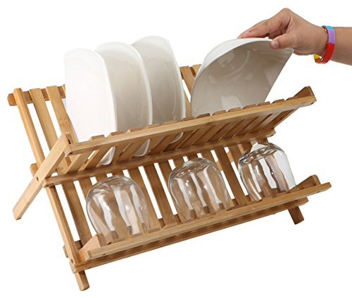 Mind Reader Wooden Dish Rack Plate Rack Collapsible Dish Drying Rack Bamboo Dish Drainer