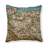 happygoluck1y - Fundas de almohada de lona blanca (18 x 18 cm), diseño de mapa (Skyrim)