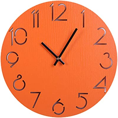 OUJIE Resumen Viento Industrial Creativo Escalera Reloj De Pared De Madera Sala De Estar Dormitorio Negro Reloj De Cuarzo,Naranja: Amazon.es: Hogar